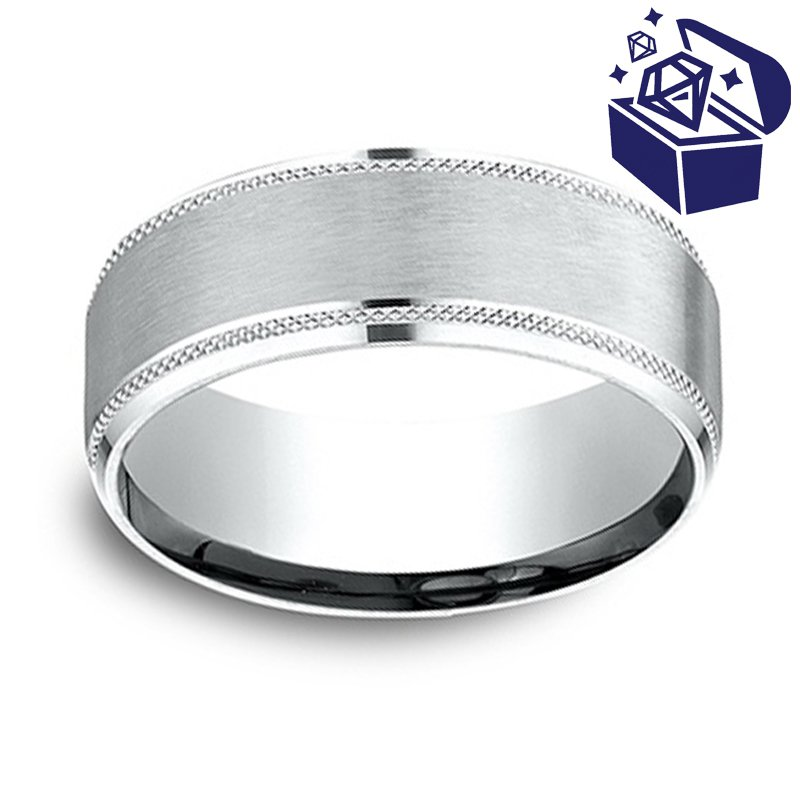 Treasure Hunt Value 8mm Wedding Ring in 14K White Gold