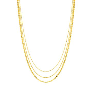Layered Triple Strand Chain Necklace in 14K Yellow Gold