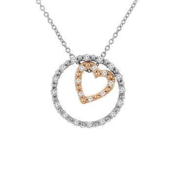 1/8ct tw NewBorn Lab Created Diamond Circle of Love Necklace in Sterling Silver and 10K Rose Gold