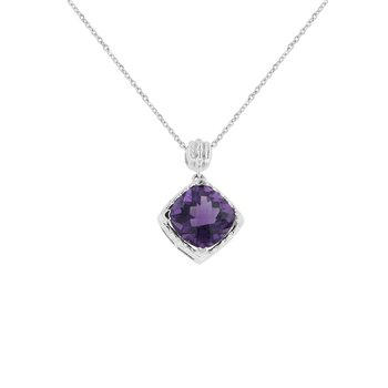 Amethyst Fashion Pendant in 10K White Gold