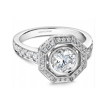 3/8ct tw Diamond Halo Engagement Ring Setting in 14K White Gold