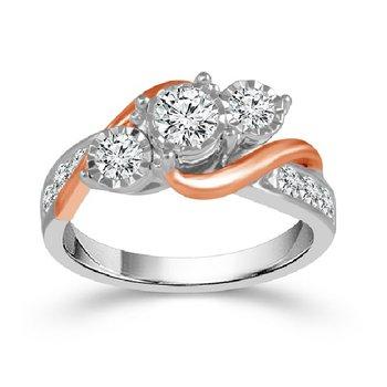 1ct tw Diamond Three Stone Diamond Engagement Ring in 10K Rose & White Gold