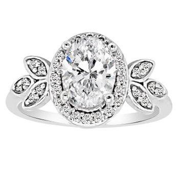 1 1/2ct tw NewBorn Lab Created Diamond Halo Engagement Ring in 14K White Gold