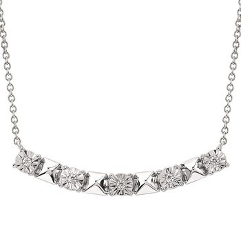 .03ct tw Diamond Bar Necklace in Sterling Silver