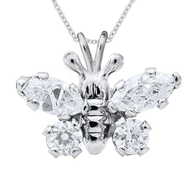 April Birthstone Butterfly Necklace in Sterling Silver