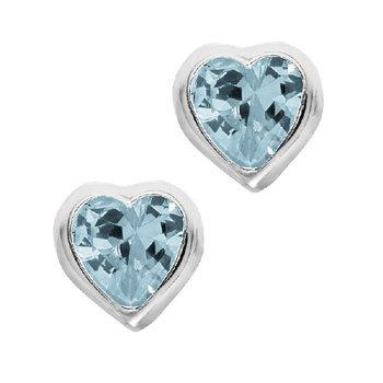 December Birthstone Heart Earrings in Sterling Silver