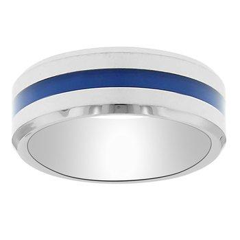 8mm First Responder Wedding Ring in Blue Enamel & Tungsten