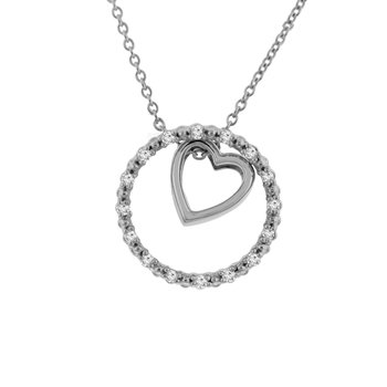 1/10ct tw NewBorn Lab Created Diamond Circle of Love Necklace in Sterling Silver