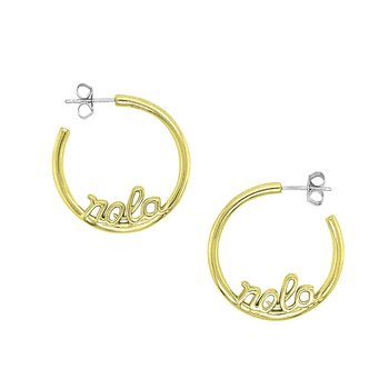 Nola Collection Hoop Earrings in Sterling Silver & Yellow Gold Plating