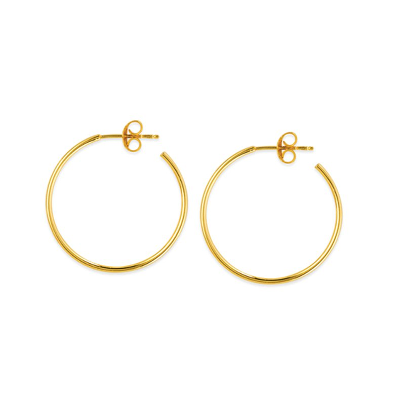 25mm Hoop Earrings in 14K Yellow Gold