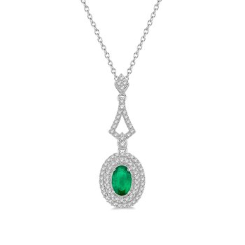 1/5ct tw Diamond & Emerald Halo Necklace in 14K White Gold