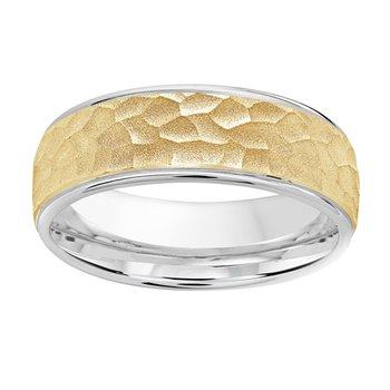 7mm Wedding ring in 14K White Gold & Yellow Gold