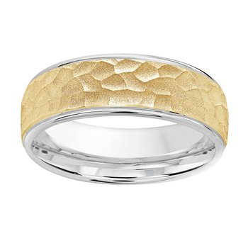 7mm Wedding ring in 14K White Gold & Yellow Gold