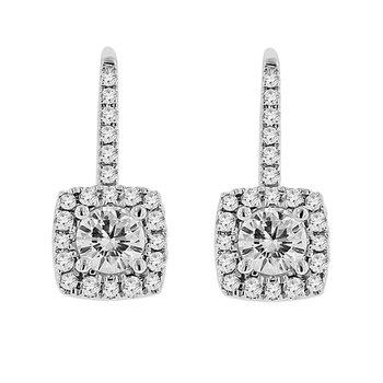 1 1/3ct tw NewBorn Lab Created Diamond Halo Earrings in 18K White Gold