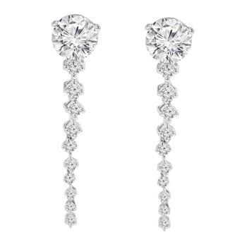 1/4ct tw Diamond Earring Jackets in 10K White GoldLadies diamond earrings jackets featuring 20 round cut diamonds in 10K white gold. 1/4 carat total diamond weight.