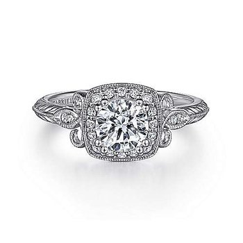 1/8ct tw Diamond Halo Engagement Ring Setting in 14K White Gold