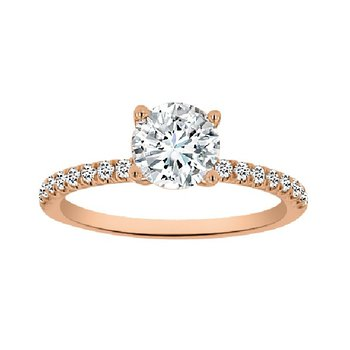 1/5ct tw Diamond Engagement Ring Setting in 14K Rose Gold