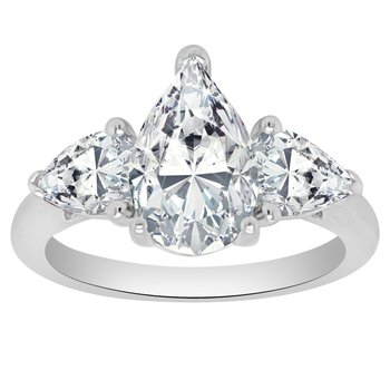 1ct tw NewBorn Lab Created Diamond Three Stone Engagement Ring Setting in 14K White Gold