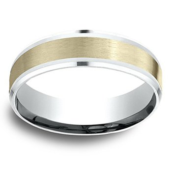6mm Wedding Ring in 14K White & Yellow Gold