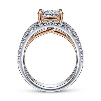5/8ct tw Diamond Engagement Ring Setting in 14K White and Rose Gold