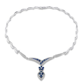 7ct tw Diamond & Blue Sapphire Necklace in 14K White Gold