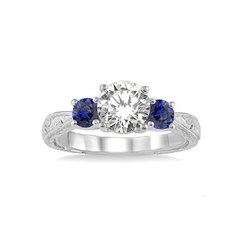 9/10ct tw Diamond & Blue Sapphire Engagement Ring in 14K White Gold