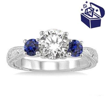 Treasure Hunt Value 9/10ct tw Diamond & Blue Sapphire Engagement Ring in 14K White Gold