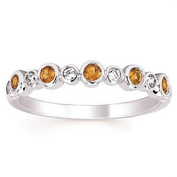 1/10ct tw Diamond & Citrine November Birthstone Ring in 14K White Gold