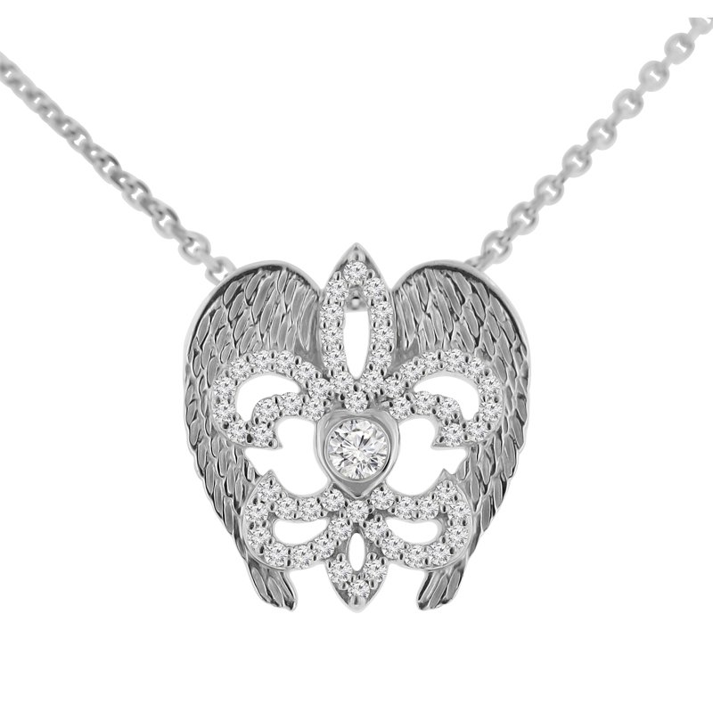 3/8ct tw NewBorn Lab Created Diamond Rise Up Nola Necklace in Sterling Silver