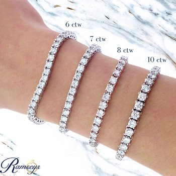 10ct tw NewBorn Lab Created Diamond Tennis Bracelet in 14K White Gold
