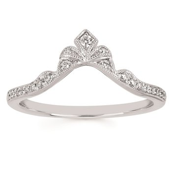 1/8ct tw Diamond Contour Wedding Ring in 14K White Gold