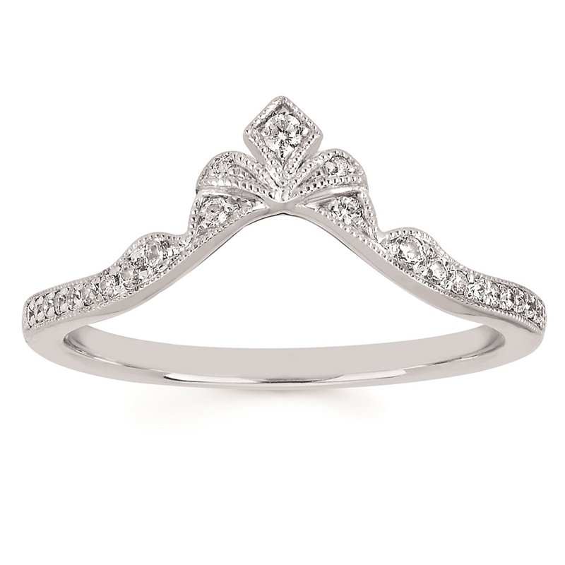 1/8ct tw Diamond Contour Wedding Ring in 14K White Gold