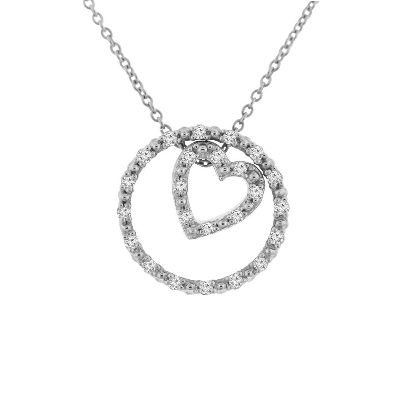 1/8ct tw NewBorn Lab Created Diamond Circle of Love Necklace in 10K White Gold
