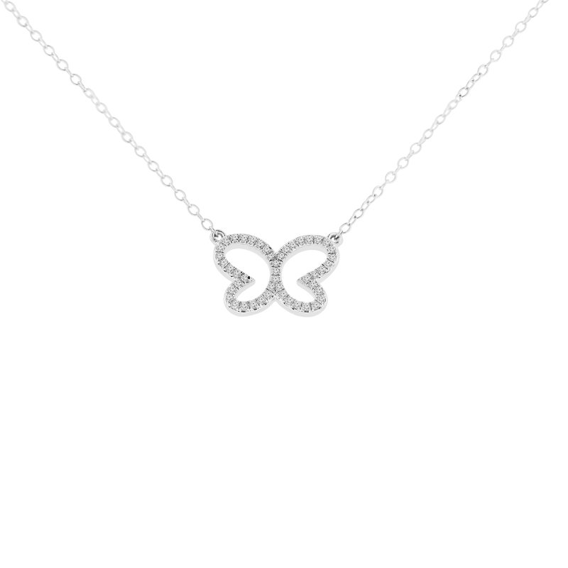1/8ct tw Diamond Garden District Collection Butterfly Necklace in Sterling Silver