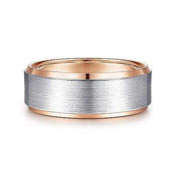 8mm Wedding Ring in 14K White & Rose Gold