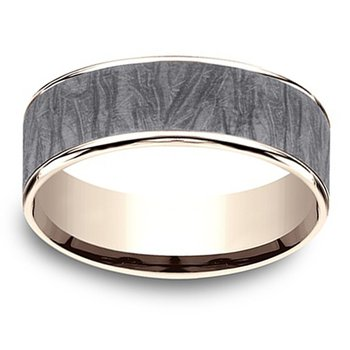 7.5mm Wedding Ring in Grey Tantalum & 14K Rose Gold