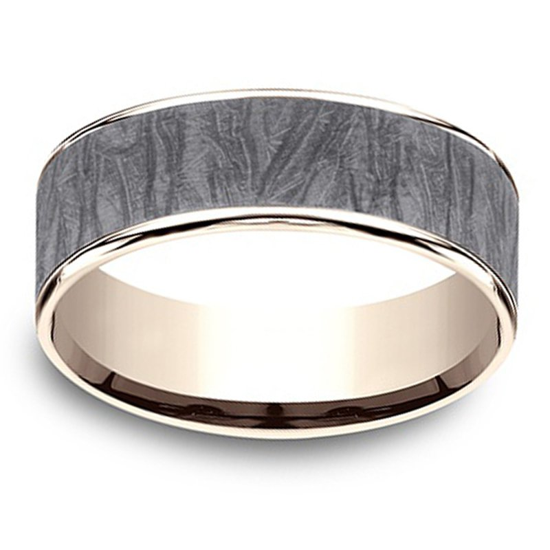 7.5mm Wedding Ring in Grey Tantalum & 14K Rose Gold