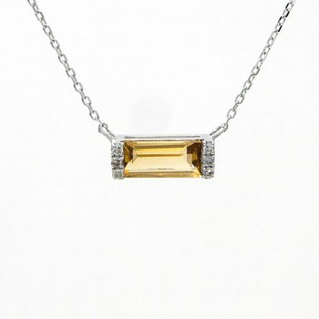 .03ct tw Diamond & Citrine Bar Necklace in 14K White Gold