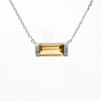 .03ct tw Diamond & Citrine Bar Necklace in 14K White Gold