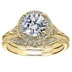 1/8ct tw Diamond Halo Engagement Ring Setting in 18K Yellow Gold