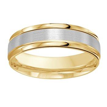 6mm Wedding ring in 14K White Gold & Yellow Gold