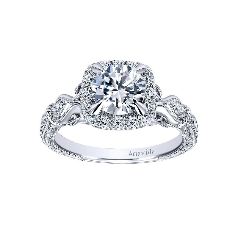 1/3ct tw Diamond Heart of New Orleans Halo Engagement Ring Setting in 18K White Gold