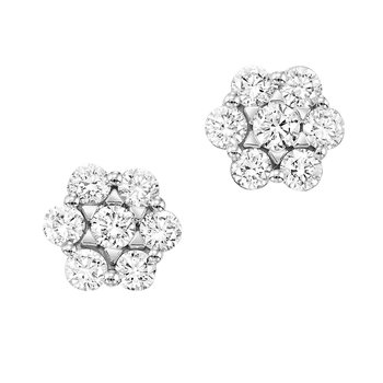 1ct tw NewBorn Lab Created Diamond Thousand Points of Light Stud Earrings in 14K White Gold