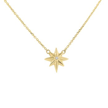 .01ct tw Diamond Star Necklace in 10K Yellow Gold