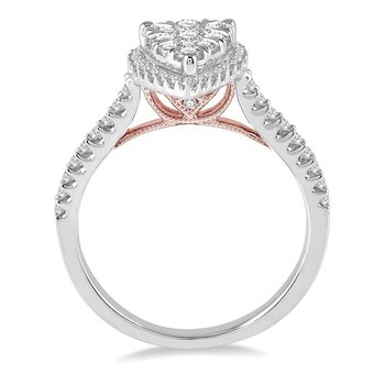 1/2ct tw Diamond Thousand Points of Light Engagement Ring in 14K White & Rose Gold