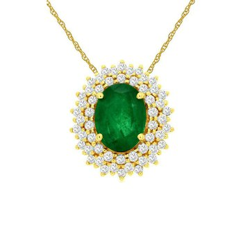1/3ct tw Diamond & Emerald Halo Pendant in 14K Yellow Gold