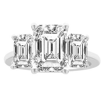 5ct tw NewBorn Lab Created Diamond Three Stone Engagement Ring in 14K White Gold