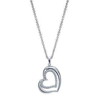 1/8ct tw Diamond Heart Necklace in 14K White Gold