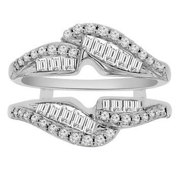 3/4ct tw Diamond Wedding Ring Guard in 14K White Gold