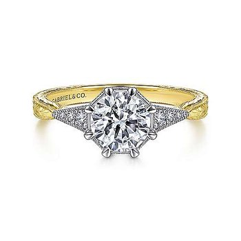 1/10ct tw Diamond Engagement Ring Setting in 14K White and Yellow Gold